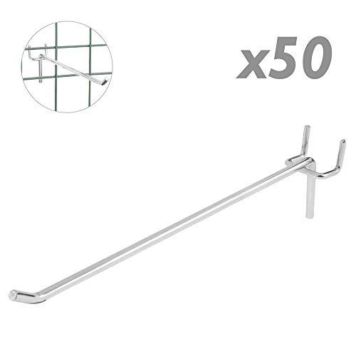 Tolsen - Crochet métallique Chrome Compatible slatwall du 200mm Pack de 50 unités