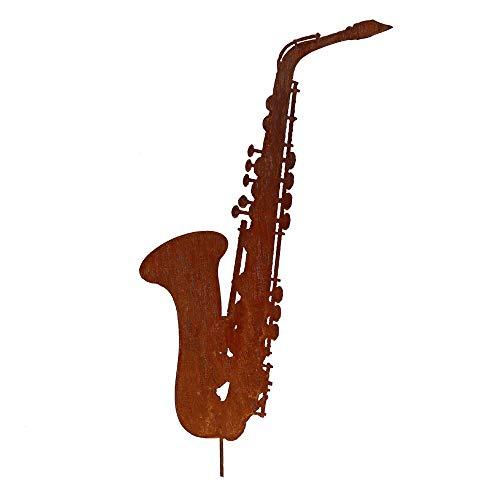 EQT-TEC Gartendekoration Edelrost Saxophon 57cm Rostfigur Garten Gartenstecker Dekoration Musik