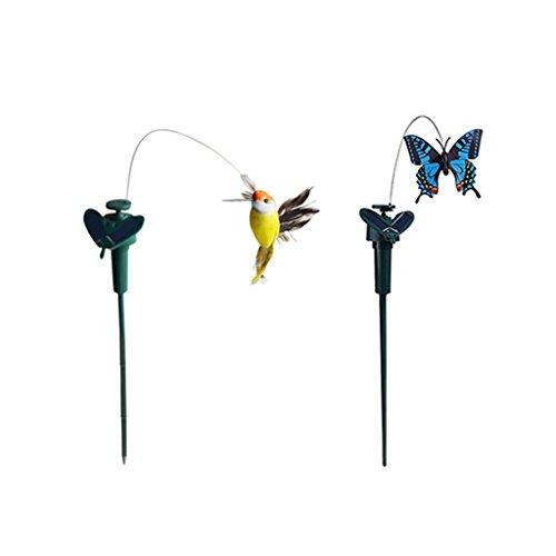 Homyl 2 Stück Tanzender Solar Schmetterling Vogel Kolibri Solarstecker der Hingucker auf Ihrer Terrasse / Blumenbeet / Garten / Balkon / Blumenkopf -