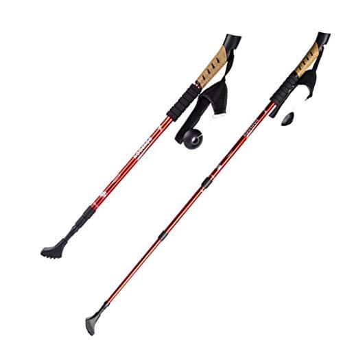 -pc Pack Adjustable Wandern oder Walking Sticks-Strong, Leichtgewicht Aluminium 7075-Stronger Than Carbon Fiber-Cork Grip, Padded Strap,Red ()