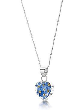 Silberschmuck mit echten Blüten - Anhänger Herz - blaue Vergissmeinnicht