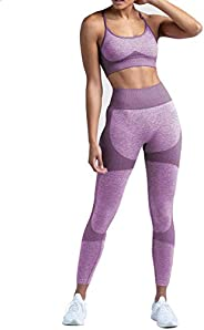 Buscando Women's Workout Sets 2 Piece High Waist Seamless Athletic Leggings+Sports Bra Skinny Tights Gym C