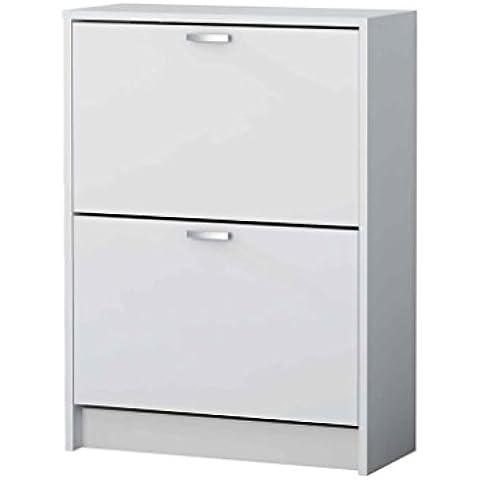 Meka-Block K-302B - Zapatero con 2 compartimentos para 12 pares, color blanco