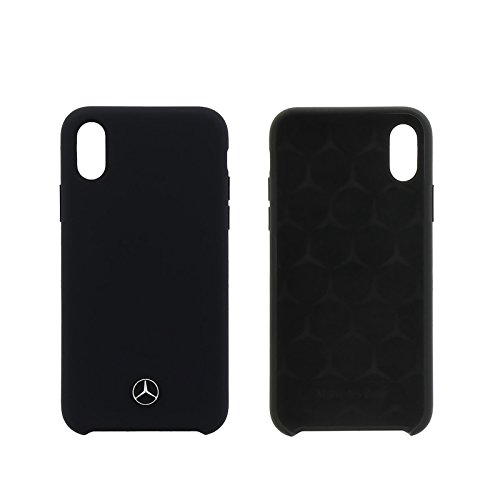 Mercedes-Benz Liquid Custodia in Silicone con Fodera in Microfibra per iPhone x – Nero