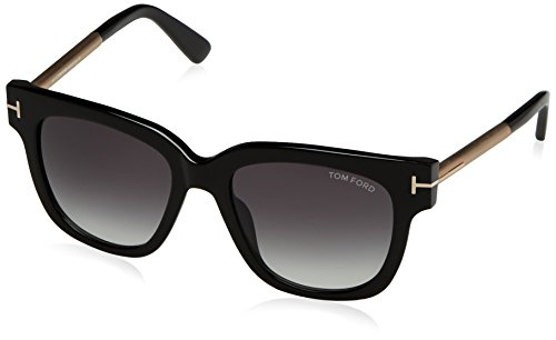 Tom Ford Damen FT0436 01B 53 Sonnenbrille, Schwarz (Nero Lucido/Fumo Grad),