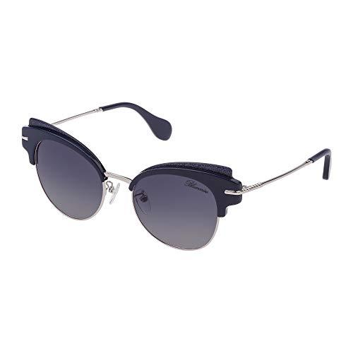 Blumarine occhiali da sole donna blu glitter lucido lenti smoke gradient sbm120 0wa2 53-20-135