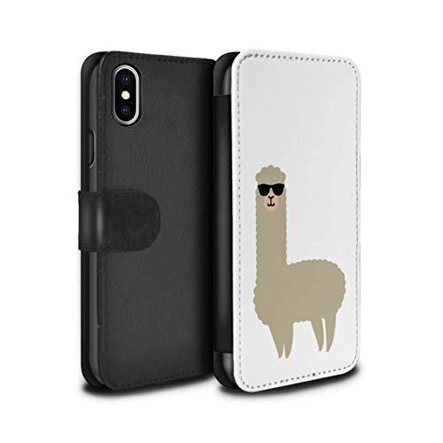 eSwish PU-Leder Hülle/Case/Tasche/Cover für Apple iPhone XS Max/Coole Sonnenbrille Muster/Süßes Alpaka Kollektion