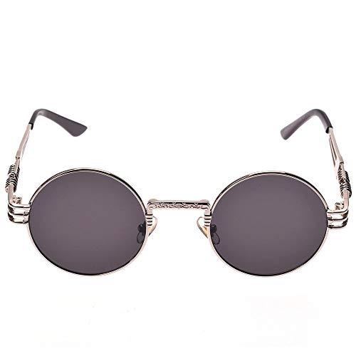 YUHANGH Vintage Retro Gothic Steampunk Spiegel Sonnenbrille Gold Und Schwarze Sonnenbrille Vintage Runde