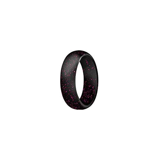 Tiamo Violet Umwelt Silikon Weiblich Männlich Ring für Frauen-Mädchen-5,7mm, 5, Schwarz, Rot, (Camo Frauen Trauringe)