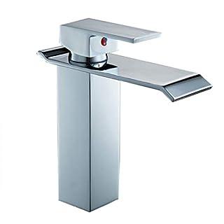 LIXSLT Wasserfall Wasserhahn, Moderne Art heiß und kalt Einlochmontage einzigen Griff Kupfer Chrom für Badezimmer Becken