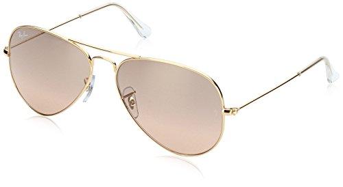 Ray-Ban Aviator Large Metal, Gafas de Sol Unisex Adulto, Transparente (Crystal Brown & Pink Silver Mirror), 58