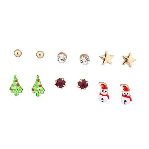 n Weihnachtsbaum Schneemann Multi Ohrring Set 6-teilig ()
