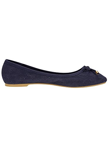 oodji Collection Donna Ballerine in Camoscio Sintetico con Fiocco Blu (7900N)