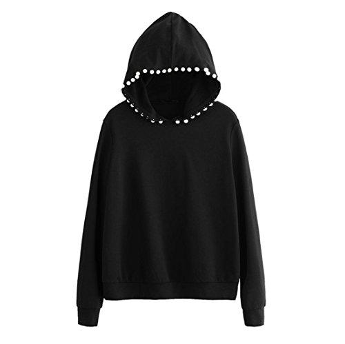 Damen Hoodie, VEMOW Mütze mit Perlen Decro Langarm Schwarz Bluse Sweatshirt