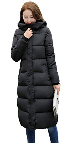 Smile YKK Manteau Long Femme Hiver Parka Chaud Blouson Manches Longues Veste à Capuche Mode Noir Buste 102cm