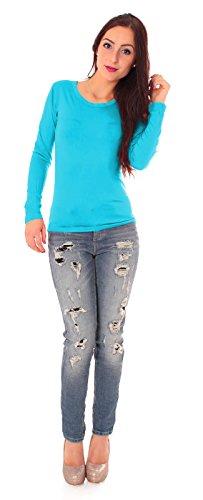 Easy Young Fashion Damen Basic Langarm Shirt Rundhals Türkis