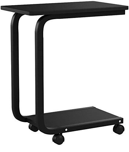 COSTWAY Laptoptisch mit Rollen, Notebooktisch schwarz, Pflegetisch mit Metallgestell, Beistelltisch mit Ablage