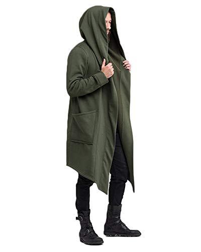 Punk Jacke Steampunk Gothic Mit Kapuze Langarm Retro Mittellang Mantel Kostüm Cosplay Uniform Für Männer Grün ()