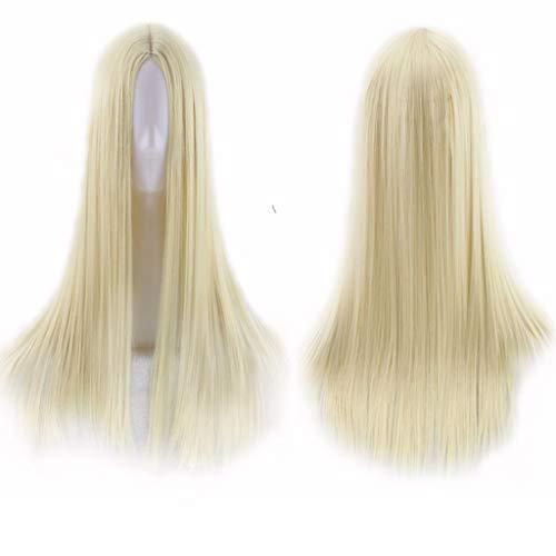 Gwm parrucche frontali in pizzo a punto medio lunghe naturali glueless capelli sintetici resistenti al calore in fibra sintetica per cosplay da 26 pollici (colore : f.)