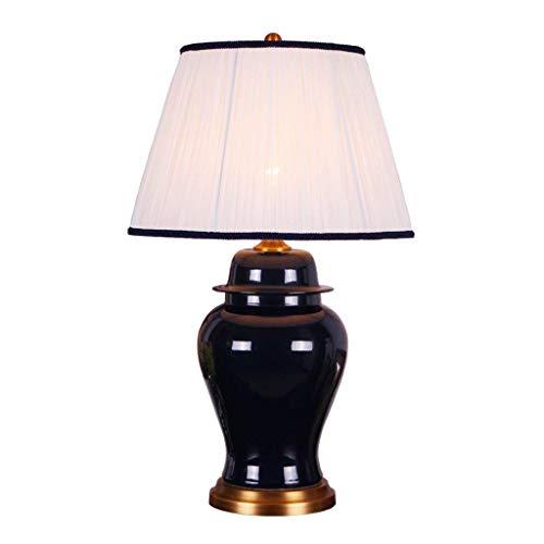 SLH Amerikanische Wohnzimmer-keramische Tischlampe-einfache Tinten-Blaue Schlafzimmer-Nachttischlampe (Einfach Tinte)