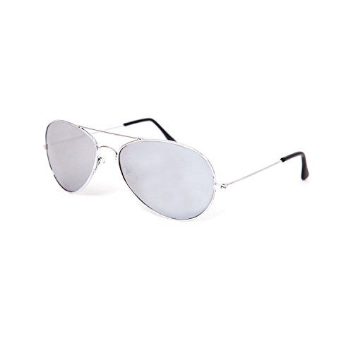 Hochwertige Pilotenbrille Sonnenbrille 70er Jahre Herren & Damen Sunglasses Fliegerbrille verspiegelt (Silver)