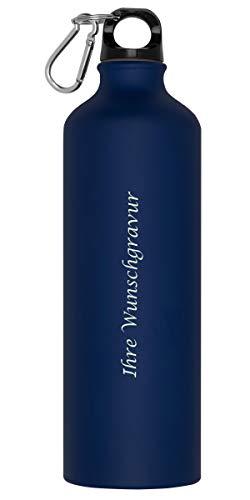 Aluminium Trinkflasche mit Karabinerhaken mit Gravur / Sportflasche / 800ml / Farbe: blau