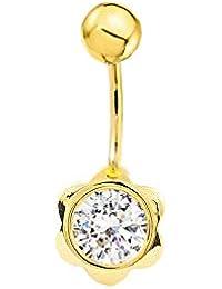 Piercing Oro Ombligo flor con circonita 7 mm (9kts)