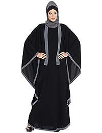9aeff811b908f Mushkiya Black Kaftan Abaya with Grey Borders-Black-Grey for girls, ladies,