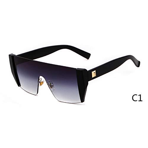 DFIHDCN Sonnenbrillen 2019 Sonnenbrillen Herren übergroße quadratische randlose Sonnenbrille Black Shades Women