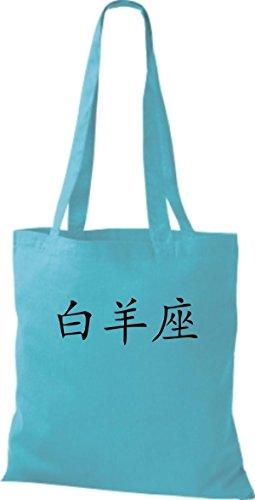 ShirtInStyle Stoffbeutel Chinesische Schriftzeichen Widder Baumwolltasche Beutel, diverse Farbe sky blue