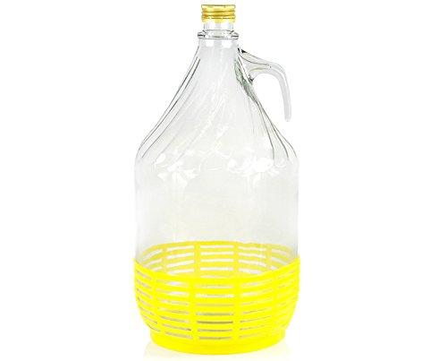 Weinballon Glasballon mit Schraubverschluß und Kunststoffkorb Glasflasche Gärballon 5 L