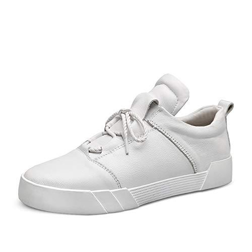 TONGDAUR Wanderschuhe Für Männer Casual Echtes Leder Oberen Bequeme Sneakers Skate Schuhe Wohnungen Low Top Lederschuhe für Herren (Color : Weiß, Größe : 40 EU) (Premium-skate Low)