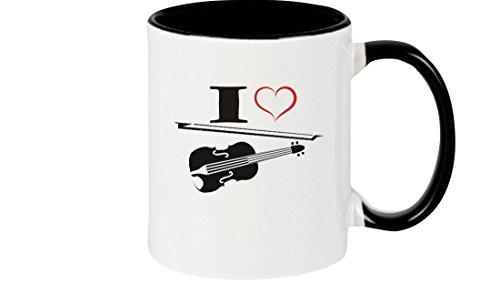 Shirtstown Kaffeepott Musik I Love Violine Bratsche Geige, schwarz