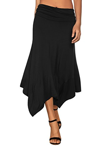 DJT Women's Vintage Elastic Waist Gypsy Irregular Jersey Long Skirt