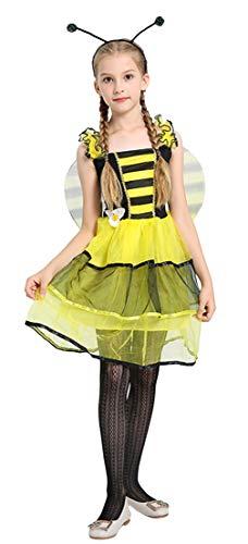 Cloud Kids Tierkostüme Mädchen Marienkäfer Kostüm Halloween Bienenkostüm Ballett Kleider mit Flügel für Karneval Fasching Gelb Körpergröße 110-120cm