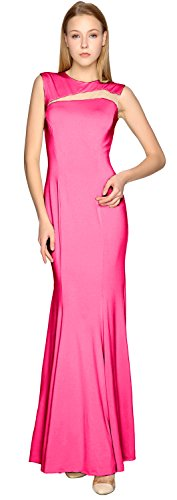 MACloth Sheath Jersey Simple Prom Dress Cut out Formal Party Evening Gown Fuchsia
