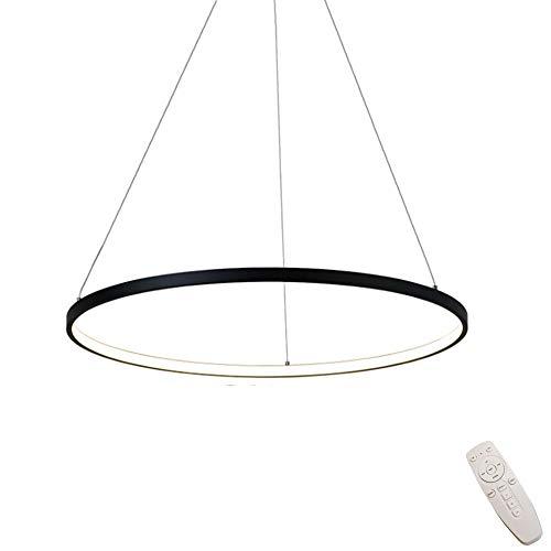 Modern LED-Pendelleuchten Schwarz Rund Ring Dimmbar Pendellampe mit Fernbedienung Höhenverstellbar Deckenleuchte für Wohnzimmer Schlafzimmer Esszimmer Küchen Beleuchtung,φ40CM