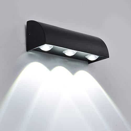 Lightsjoy Aplique de pared para exterior redonda aluminio IP65 a prueba de agua lámpara de iluminación...