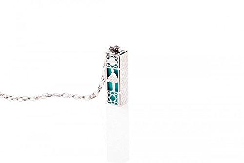 Collier Femme en Acier Blanc avec à l intérieur Parfum de couleur Tiffany.
