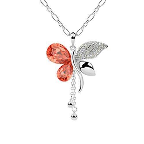 Daesar Schmuck Damenkette Vergoldet Schmetterling Blume Halsketten Zirkonia Anhänger Halskette für Frauen