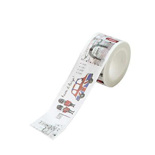 Phononey 1X Washi Tape Papierband Deko Klebeband Cartoon London Landschaft für Geschenkverpackung Weihnachtstag DIY Briefpapier Papierhandbuch Scrapbook 2cm*7m (London Klebeband)