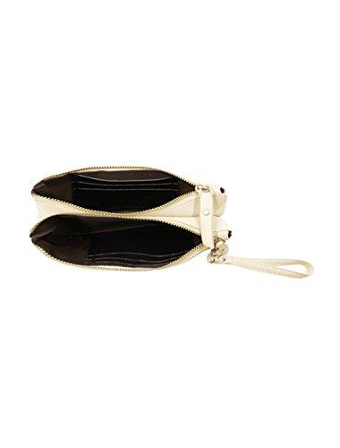 Allegra K Damen Bolzen Dekoration Magnetisch Klappe Schließung Imitation Leder Kupplung Beige - Beige