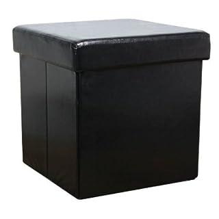 Large Faux Leather Ottoman Folding Storage Pouffe Toy Box Foot Stool Seat Single in Black