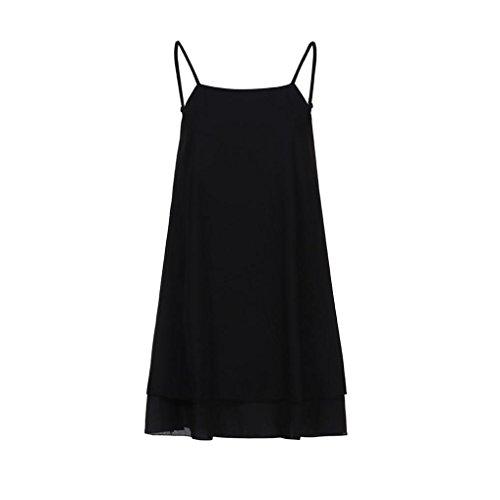 (JUTOO Frauen Strappy lose beiläufige Sommer Strandkleid Plus(Schwarz-2, EU:38/CN:S))