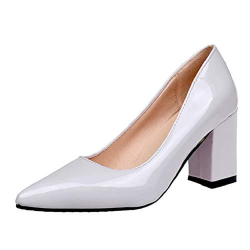 Damen Business Schuhe Blockabsatz feiXIANG Elegante High Heels Party Sandalen 2019 Einfarbig Abendschuhe Pumps(Grau,40CN=39EU)