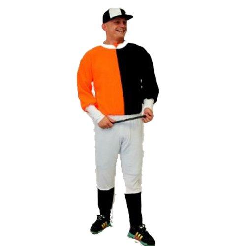 Schwarz weiß Orange & Jockey-Kostüm von Dragons Den Fancy Dress one size, elastische bis 111.76 cm Brust