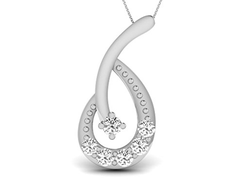 Or Blanc 9 ct Pendentifs Diamant , 0.11 Ct Diamant, GH-SI, 0.41 grammes.