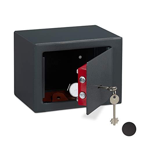 Relaxdays Caja Fuerte Pequeña, Mini Safe con Llaves, Seguridad, para Paredes o Armarios, Acero, 17...