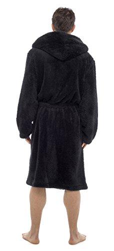 Herren Kapuzen Kuschlig Fleece Bademantel Mit Freizeit Socke schwarz kuschlig