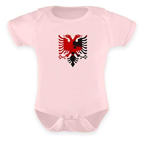 doppelkopf Adler Wappen skenderbeu albanisch t-Shirt Geschenk Adler Kosovo albanien - Baby Body -0-6 Monate-Puder Rosa -